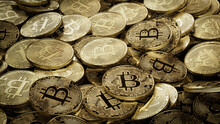 Bitcoin Cryptocurrency Represented As Gold Coins. Digital Asset Wallpaper. 3D Render.