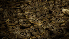 Bitcoin Cryptocurrency Represented As Gold Coins. Digital Business Wallpaper. 3D Render.