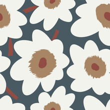 Seamless Simple Cute Pattern Of Large White Flowers On Navy Background.Endless Floral Ornament With Beautiful Blossoms.Colourful Backdrop For Fabric,textile,linen,covers,wrapping,decoupage.Raster