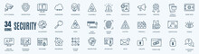 Protection And Digital Security Vector Editable Storke Line Icons Set. Contains Such Icons As Finger Print, Business Data Protection Technology, Cyber Security, Computer Network Protection.