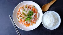 Dried Shrimp Salad With A Spicy Flavour, Thai Breakfast Good With Plain Congee.