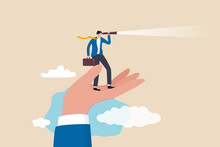 Vision To See Opportunity, Support Or Empowerment For Career Development, Success Opportunity Or Visionary To See Journey Ahead Concept, Businessman Stand On Support Hand Look Into Telescope Vision.