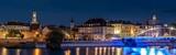 Fototapeta Miasto - Opole panorama Starego Miasta nocą z widoczną katedrą, murami miejskimi nad rzeką Odrą i ratuszem