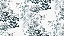 Flower Japanese Chinese Design Sketch Ink Paint Style Card Seamless Pattern