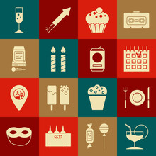 Set Martini Glass, Plate, Fork And Knife, Detailed Calendar, Muffin, Birthday Cake Candles, Karaoke, Glass Of Champagne And Beer Icon. Vector