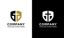 Christian Cross And Shield Of Faith. Christian Church Vector Logo. Missionary Icon. Religious Symbol. Protection, Safety, Security Sign.