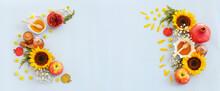 Honey, Pomegranate And Apple. Rosh Hashanah (jewish New Year Holiday) Concept. Traditional Symbol