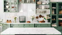 Countertop With Green Vintage Kitchen Furniture In Blurred Background