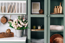 Green Vintage Kitchen Cupboard With Glass Doors