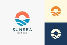 Beach Or Coast Logo In Simple Sun And Ocean Shape