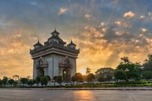 Vientiane Laos, Sunrise City Skyline At Patuxai (Patuxay) The Most Famous Landmark In Vientiane