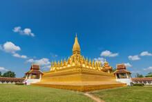 Vientiane Laos, City Skyline At Wat Phra That Luang Golden Pagoda