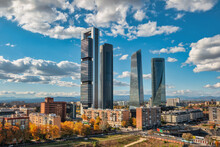 Madrid Spain, City Skyline At Financial District Four Towers With Autumn Foliage Season