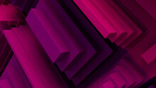 Pink And Purple Tech Background With A Geometric 3D Structure. Clean, Stepped Design With Extruded Futuristic Forms. 3D Render.
