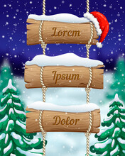 Winter Christmas Vertical Banner With Hanging Wooden Sign And Red Santas Hat On Blurred Forest Night Background. Snow Landscape With Fir Trees And Signboard. Cute Template For Mobile, Ads, Game Design