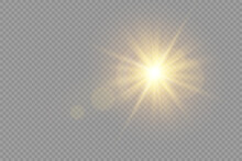 Glow Bright Light Star, Yellow Sun Rays.
