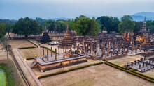 Sukhothai Historical Park In Sukhothai Province, Thailand. Aerial View From Flying Drone