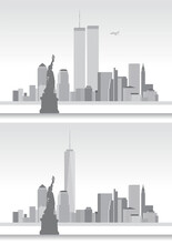 Old And New New York Skyline, United States Of America, Before And After 9/11, Vector Illustration