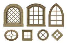 Set Of Textures Of Wooden Vintage Windows Vector