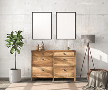 Interior Scene Mockup: Wooden Sideboard With Two Empty Picture Frames, Vases And A Candle On Top. Floor Lamp, Fig Tree And Rattan Basket With Blanket To The Sides. Concrete Wall. 3d Render Mockup.