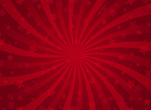 Sunlight Spiral Horizontal Background. Scarlet Red Color Burst Background With Shining Stars.