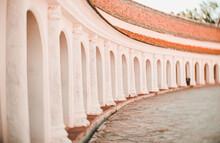 Arch Walkway Of Phra Pathom Chedi Landmark Architecture In Thailand.