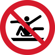 ISO 7010 P046 Do Not Stretch Out Of Toboggan