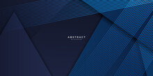 Modern Simple Dark Navy Blue Background With Overlap Triangle Layers. Blue Abstract Background Vector With Blank Space For Text. Modern Element For Banner, Presentation Design And Flyer