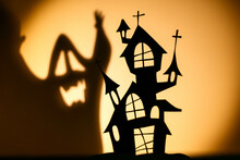 Black House For Shadow Play Prepared For Halloween Celebration