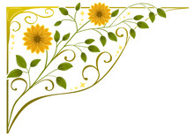 Floral Ornamental Corner And Frame Vector For Wedding Invitations, Letters And Other Purposes.