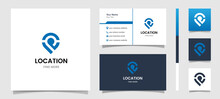 Location Modern Logo Good For Your Technology Logo, Map Logo, Location Logo With Business Card Templete Design