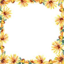 Yellow Floral Watercolor Frame With Flowers And Leaves