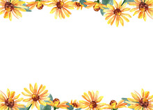 Yellow Floral Watercolor Frame With Flowers And Leaves On White Isolated Background. Beautiful And Elegant Design. Autumn Plants