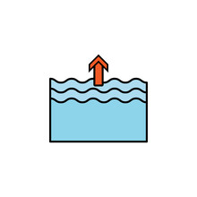 Forecast, High, Tide Line Colored Icon. Signs, Symbols Can Be Used For Web, Logo, Mobile App, UI, UX