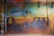 Colorful Dirty Wall With Industrial Lamps And Vivid Blue, Red, Yellow, Green Colors And Flaking Plaster Texture For Backgrounds