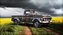 Vintage Rusty Truck In A Colorful Meadow Countryside Field Of Flowers. 3d Rendering
