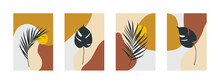 Modern Minimal Posters With Tropical Leaves And Abstract Organic Shapes. Vector Illustration.