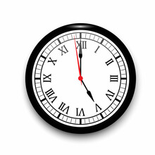 3d Realistic Wall Clock. Watch Symbol. Vector Clock Hanging On The Wall. Vintage Background. Vector Illustration. Stock Image