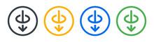 Hole Piercing Icon. Arrow Through Circle Symbol