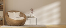 Scandinavian Living Room Style, Comfortable Wicker Round Chair, 3d Rendering