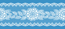 アンティークな花模様のレースリボン。シームレス・ベクター素材。