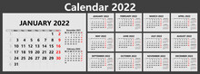 Planner Calendar For 2022 With Week Numbers. Template For A Wall Calendar For A Company. The Week Starts On Monday. Vector Illustration