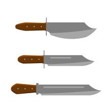 Vintage Knife Set. Flat And Solid Color Vector Illustration.