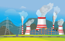 Combined Heat And Power Station Or Thermal Power Plant Scenery. Industry Air Pollution. All Types Of Power Stations. System With Transmission Tower And Generator And Cooling Tower