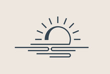 Simple Sunset, Sunrise Icon. Line Design, Editable Stokes. Weather Sign Concept. Vector Illustration, EPS 10