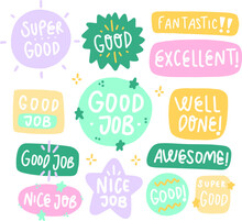 Job And Great Job Stickers Logo. School Reward, Encouragement Sign, Stamp. Student Icon. Success, Congrats, Excellent Work Label. Awesome Homework, Well Done. Educational Kids Design. Vector Art.