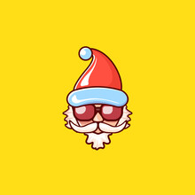 Santa Claus Head With Santa Red Hat And Hipster Sunglasses Isolated On Yellow Christmas Background. Santa Label Or Sticker Design