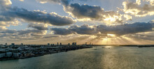 Miami Cityscape Skyline At Sunrise On Cloudy Morning