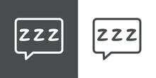 Tiempo De Dormir. Logotipo Con Letras Zzz En Burbuja De Habla En Fondo Gris Y Fondo Banco