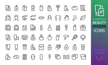 Cosmetics, Beauty And Personal Hygiene Isolated Icons Set. Set Of Decorative Cosmetics, Oral, Body, Skin  And Face Care Vector Icons